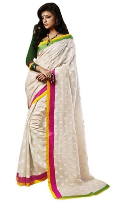 Triveni Amazing Cream Indian Traditional Bhagalpuri Silk Printed Saree TSVD19032
