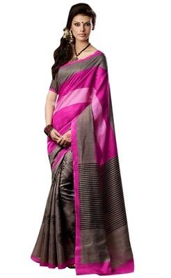 Triveni Amazing Brown Indian Traditional Bhagalpuri Silk Printed Saree TSVD19037