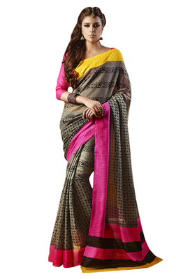 Triveni Amazing Brown Indian Traditional Bhagalpuri Silk Printed Saree TSVD19039