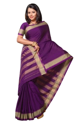 Triveni Beautiful Purple Border Work Cotton Sari TSMRCC401