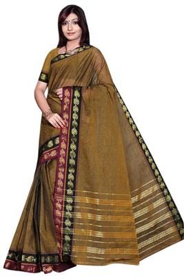 Triveni Pleasing Browned Border Work Cotton Sari TSMRCC404