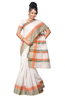 Triveni Elegant Whiteed Border Work Cotton Saree TSMRCC412