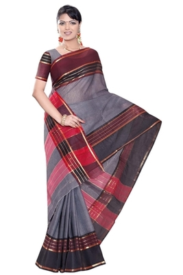 Triveni Amusing Greyed Border Worked Cotton Sari TSMRCC413