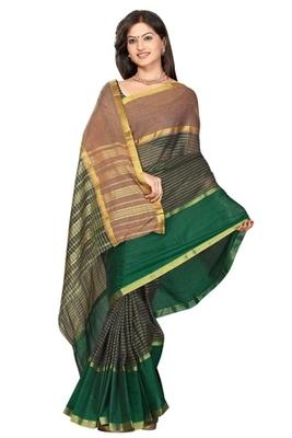 Triveni Beautiful Greened Printed Cotton Saree TSMRCC414