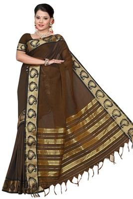 Triveni Delightful Brown Border Work Cotton Sari TSMRCC417