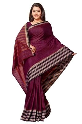 Triveni Appealing Black Border Work Cotton Sari TSMRCC426b