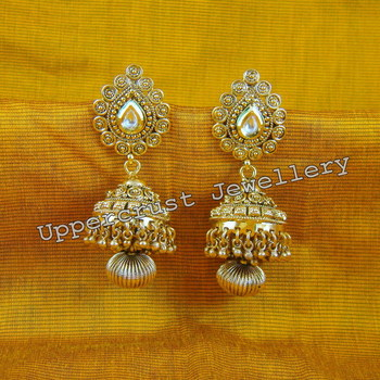 Antique Gold Plated Kundan Jhumka Jhumki