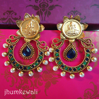 Temple Earrings - Laxmi - Blue n Green