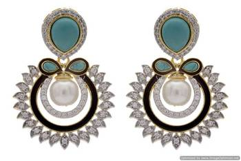 AD STONE STUDDED ROUND MEENA WORK CHAAND BAALI STYLE EARRINGS/HANGINGS (TURQUOISE)  - PCFE3197