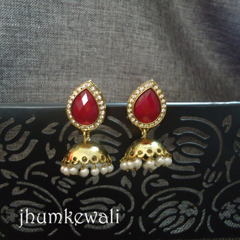 Maroonish Red Tilak Jhumka - antique polish