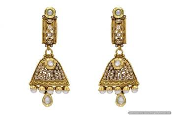 ANTIQUE GOLDEN STONE STUDDED EARRINGS/HANGINGS (PEARL)  - PCAE2016