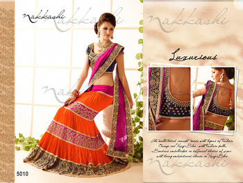Designer Orange Lehenga Saree