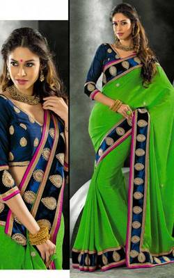 Green Faux Chiffon Brasso Designer Sari Saree with Blouse For Party Weddings Festival Gift