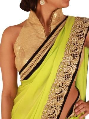 Pear Green Pure Satin saree with golden cutwork border