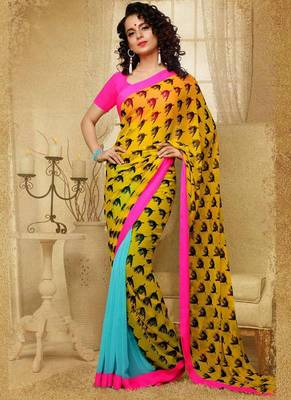 Yellow and Aqua Blue Faux Georgette Reversible Saree with Blouse Designer Sari Festival Party Gift office wear half half