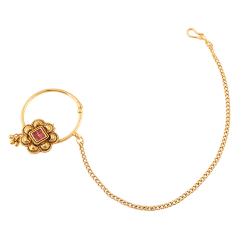 Nath Bridal Nose Ring With Chain Nose Rings For Wedding Adiva 1394295
