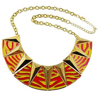 DIOVANNI Leopard Print in Red YelloW Statement Necklace