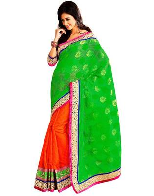 Green & Orange Color Banarasi Saree