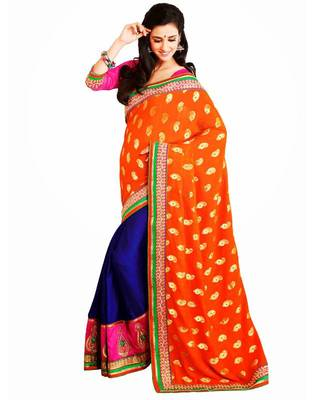 Orange & Magenta Color Viscose Georgette with Velvete Saree