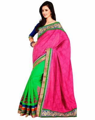 Magenta & Sea Green Color Fancy Jacquard with banarasi Saree