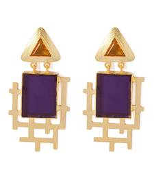 Buy Golden Dangler Earrings Studded With Purple Amethyst & Yellow Citrine Stones gemstone-earring online