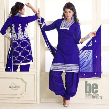 Hot Blue embroidery design work Patiyala style salwar suit