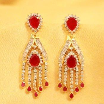 Red American Diamonds Danglers-Drops