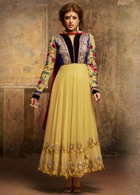 Light Yellow Faux Georgette Abaya Style Churidar Salwar Kameez Anarkali Dress Party Festival Weddings Gift