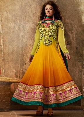 c9e34f3e3a Shaded Golden Orange Faux Georgette Abaya Style Churidar Salwar Kameez  anarkali dress party festival weddings gift - Aum Sanskriti - 172685