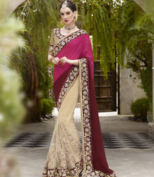 Buy Multi color  embroidered satin saree with blouse satin-saree online