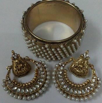 Designer Ram leela Earings with Traditional Pearl Kada