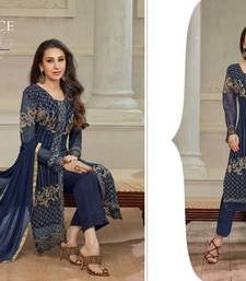 Buy Blue Georgette Embroidered Salwar suit readymade-suit online