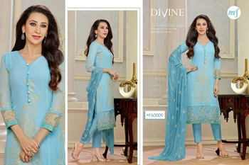 Turquoise Georgette Embroidered salwar suit