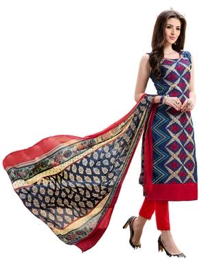 Blue chanderi embroidered unstitched salwar with dupatta