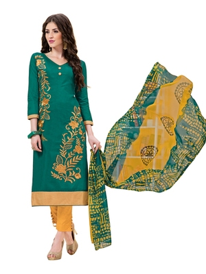 Green chanderi embroidered unstitched salwar with dupatta
