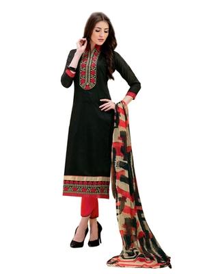 Black chanderi embroidered unstitched salwar with dupatta
