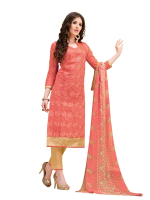Orange chanderi embroidered unstitched salwar with dupatta