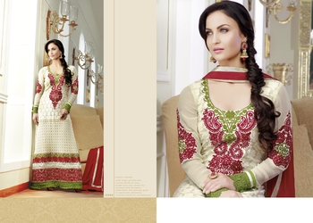 Cream Red embroidered anarkali suit