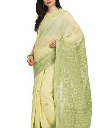 Buy Ada yellow embroidered cotton  lucknowi chikankari saree with blouse cotton-saree online