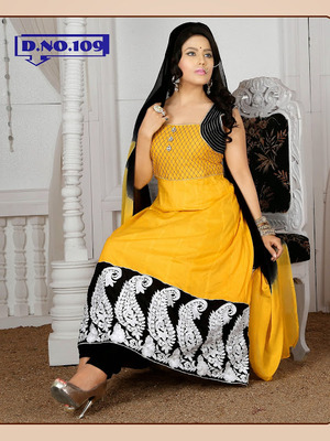 Yellow And Black Embroidered Anarkali Suits – Ladies Anarkali Suits