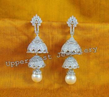 White Gold Plated CZ Diamond Jhumka Earrings
