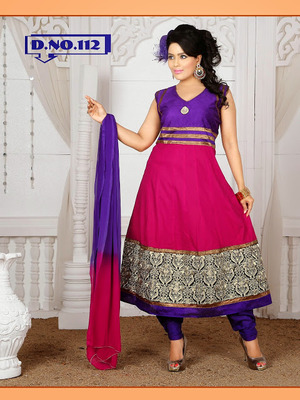 PINK AND PURPLE CAMBRIC COTTON ANARKALI SUITS