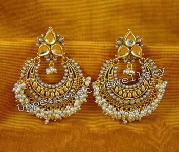 Polki Kundan Pearl Chand Bali Earrings
