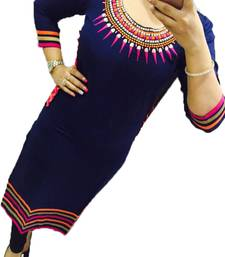 Navy blue embroidered georgette stitched kurti