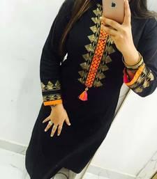 Black embroidered georgette stitched kurti
