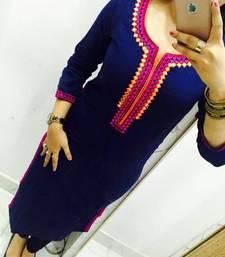 Buy Blue embroidered georgette stitched kurti georgette-kurtis online