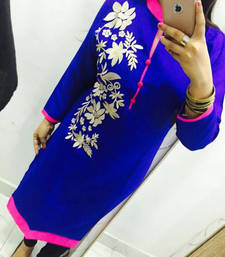 Blue embroidered georgette stitched kurti