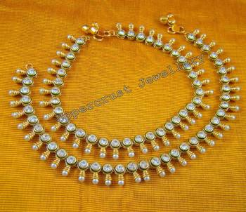 Polki Pearl Meena Sleek Payal Anklet