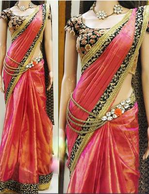 344bbe6d636b0 Orange embroidered Paper Silk saree With Blouse - A AND V FASHION - 1398237