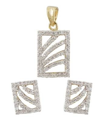 CZ Rayed Window Pendant Set